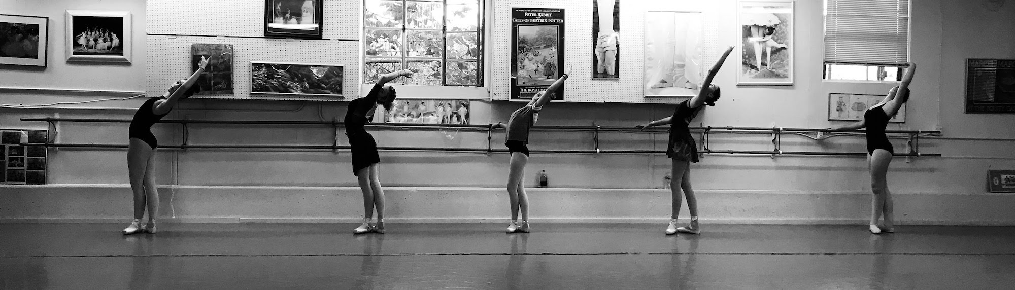 Class students and barre work
